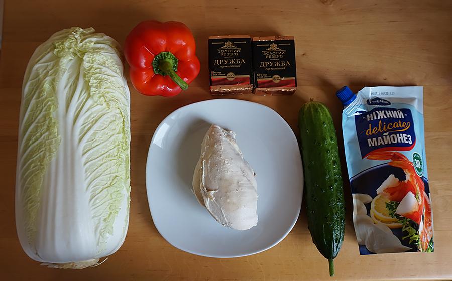Рецепт салата с плавленным сыром и пекинской капустой пошаговый с фото
