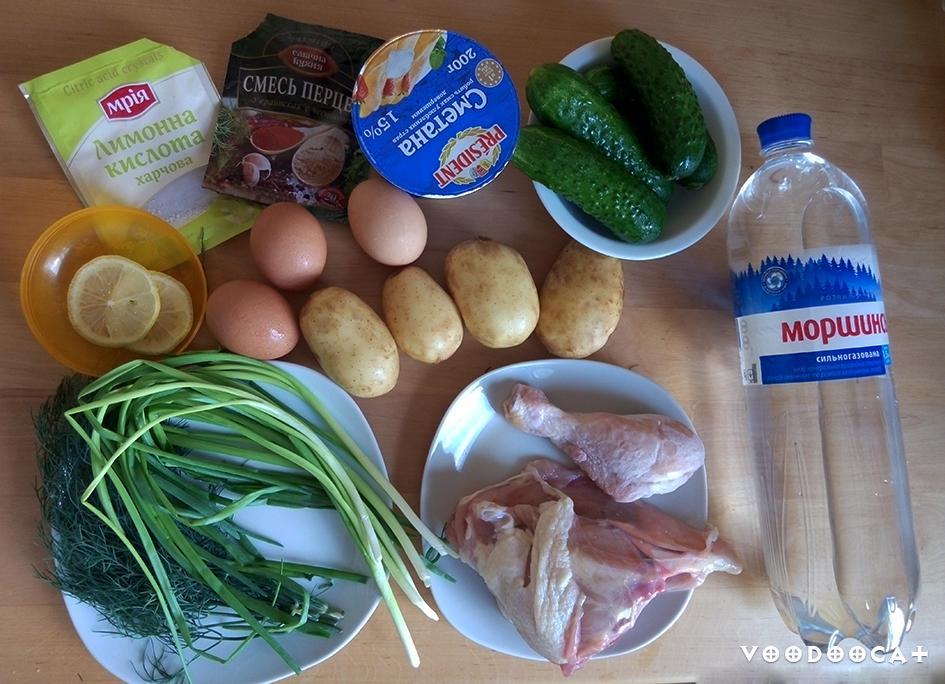 Рецепт окрошки на минеральной воде с курицей пошаговый с фото