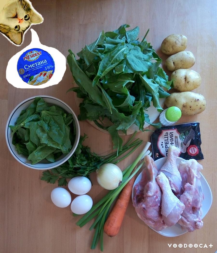 Рецепт зеленого борща с щавелем и шпинатом пошаговый с фото