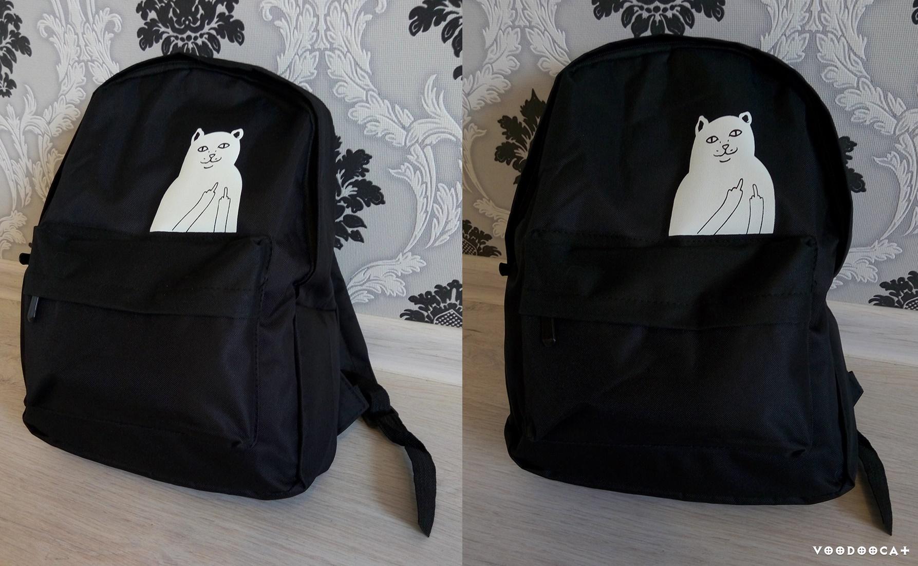 Рюкзак с Aliexpreess с дерзким котом, который показывает средний палец