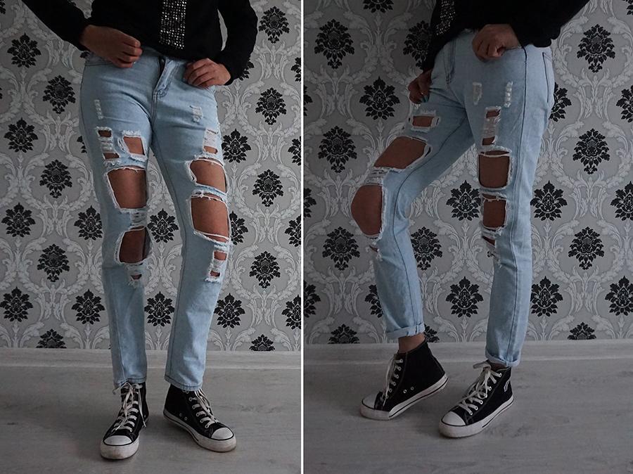 Женские рваные джинсы с сайта Aliexpress